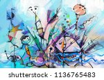 abstract colorful fantasy oil... | Shutterstock . vector #1136765483