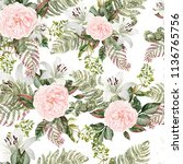 bright watercolor pattern with... | Shutterstock . vector #1136765756