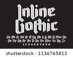 inline gothic alphabet. bright... | Shutterstock .eps vector #1136765813