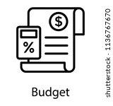 calculator with paper having... | Shutterstock .eps vector #1136767670