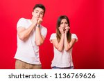 curious shocked couple ... | Shutterstock . vector #1136769626