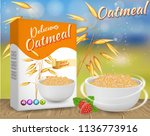 oatmeal ads. vector realistic... | Shutterstock .eps vector #1136773916