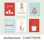set of merry christmas and... | Shutterstock .eps vector #1136775029