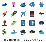 colored vector icon set   plane ... | Shutterstock .eps vector #1136776436