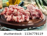 raw pork belly pieces on a... | Shutterstock . vector #1136778119
