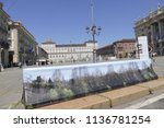 anti terrorism barriers covered ...   Shutterstock . vector #1136781254