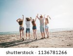 beach summer holiday sea people ... | Shutterstock . vector #1136781266