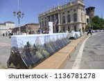 anti terrorism barriers covered ...   Shutterstock . vector #1136781278