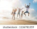 beach summer holiday sea people ...   Shutterstock . vector #1136781359
