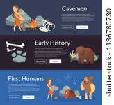 vector cartoon cavemen... | Shutterstock .eps vector #1136785730