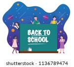 happy kids with chalkboard.... | Shutterstock .eps vector #1136789474