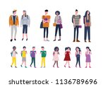 set of kids and young people... | Shutterstock .eps vector #1136789696