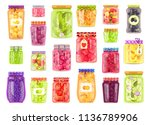 preserved vegetables and fruits ... | Shutterstock .eps vector #1136789906