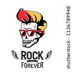 rock forever isolated on bright ... | Shutterstock .eps vector #1136789948