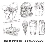 fast food set hand drawn vector ... | Shutterstock .eps vector #1136790020