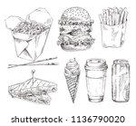 fast food set hand drawn vector ... | Shutterstock .eps vector #1136790020
