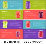 preserved food poster and jars... | Shutterstock .eps vector #1136790089