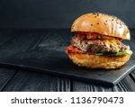 homemade  juicy burger on dark... | Shutterstock . vector #1136790473