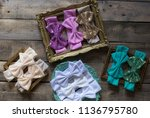 bow headband set of colorful... | Shutterstock . vector #1136795780