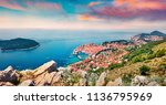 impressive morning view of... | Shutterstock . vector #1136795969