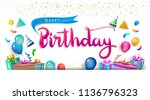 happy birthday typography... | Shutterstock .eps vector #1136796323