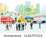 traffic accident with police...   Shutterstock .eps vector #1136797223