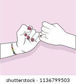 hand holding promise pink... | Shutterstock .eps vector #1136799503