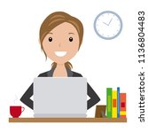 business woman sitting at his... | Shutterstock .eps vector #1136804483