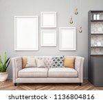 mock up poster with vintage... | Shutterstock . vector #1136804816