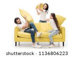 happy family in white shirts on ...   Shutterstock . vector #1136806223
