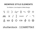 memphis style elements. set of... | Shutterstock . vector #1136807063