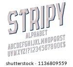 stripy alphabet witn numbers ... | Shutterstock .eps vector #1136809559