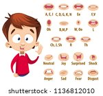 mouth animation set for cute... | Shutterstock .eps vector #1136812010