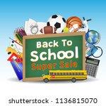 back to school sale chalkboard  ... | Shutterstock .eps vector #1136815070