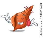 listening music long shell... | Shutterstock .eps vector #1136817623
