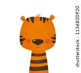 cartoon tiger. cute print for... | Shutterstock . vector #1136820920