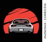 cartoon japan tuned car on red... | Shutterstock .eps vector #1136821316