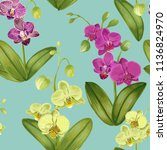 seamless tropical pattern with... | Shutterstock .eps vector #1136824970