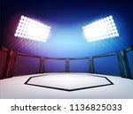 empty cage martial arts... | Shutterstock .eps vector #1136825033
