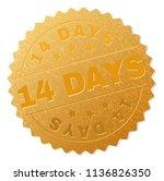 14 days gold stamp seal. vector ... | Shutterstock .eps vector #1136826350