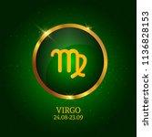 horoscope. virgo. zodiac icon.... | Shutterstock .eps vector #1136828153
