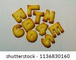 alphabet and number cookies | Shutterstock . vector #1136830160
