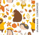 autumn forest seamless pattern... | Shutterstock .eps vector #1136834420
