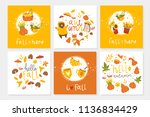 set of 6 cute ready to use gift ... | Shutterstock .eps vector #1136834429