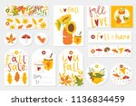 autumn set of gift tags  cards... | Shutterstock .eps vector #1136834459