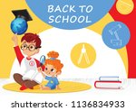 back to school  banner template.... | Shutterstock . vector #1136834933
