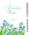 vector summer background. blue... | Shutterstock .eps vector #1136836883