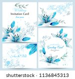 blue lily watercolor flower... | Shutterstock .eps vector #1136845313