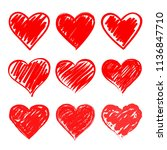 set of stylized hearts. vector... | Shutterstock .eps vector #1136847710