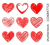 set of stylized hearts. vector... | Shutterstock .eps vector #1136847713